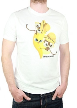 "DSQUARED Designer Herren T-Shirt ""Little Monkeys"", weiß Gr. M -"