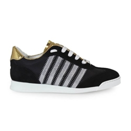 DSQUARED2 NEW RUNNER BLACK AND GOLD SNEAKERS -